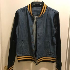 Denim jacket with faux leather sleeves!